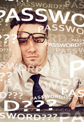 """Mann mit Brille schief auf der Nase stützt Kopf in Hand und """"Passwort???"""" mehrmals quer über das Bild geschrieben"""